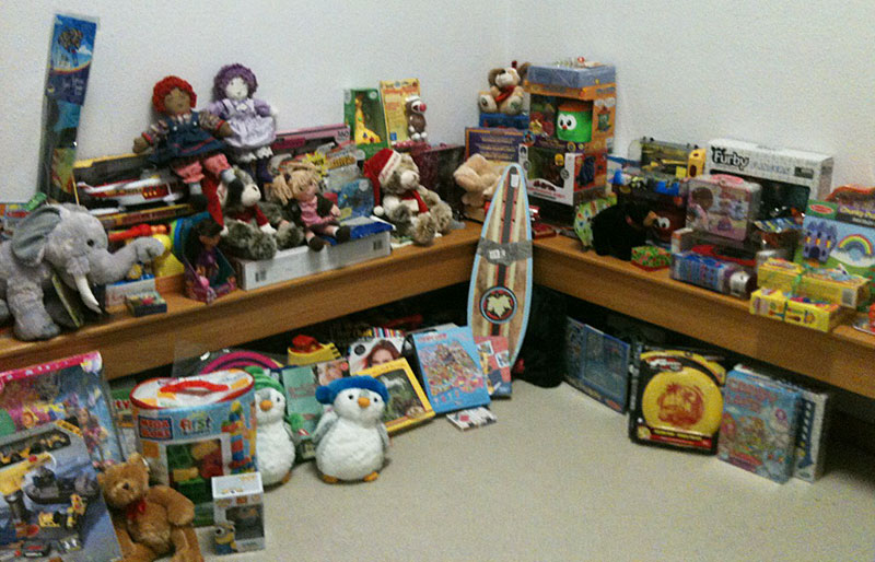 Donated toys waiting in the studio